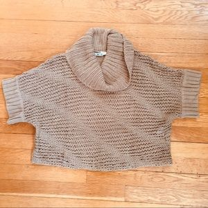 DKNYC Cropped Open Knit Cowl Neck Sweater